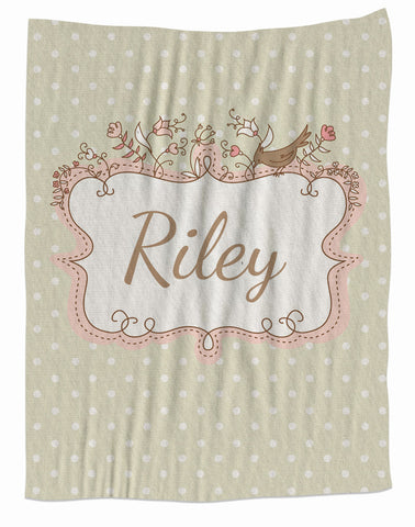 Personalized Cream Bird Frame Fleece Blanket