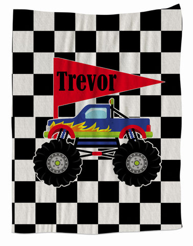 Monster Truck Personalized Fleece Blanket