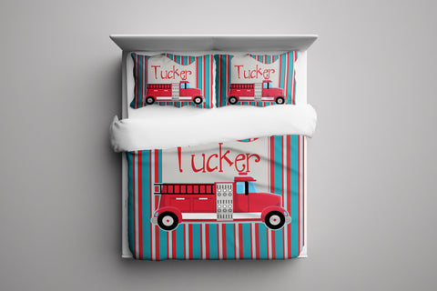 Fire Truck Personalized Bedding Set