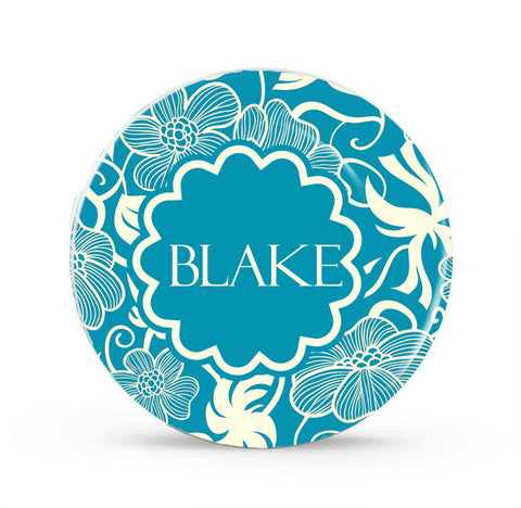 Ornate Floral Monogram Plates (Any Color) - Style 027