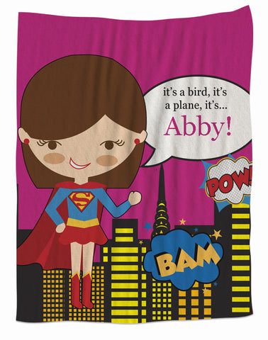 Super Girl Personalized Fleece Blanket