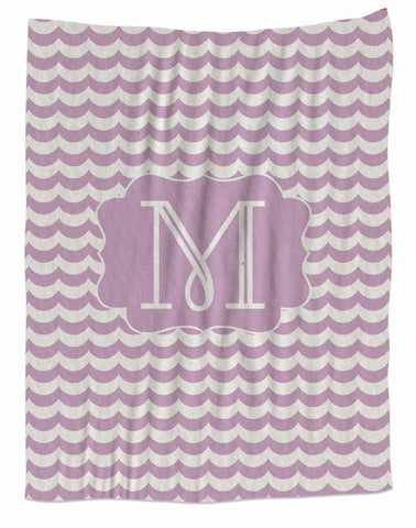 Lilac-Monogram-Fleece Blanket