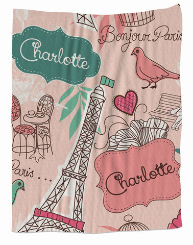 Paris Personalized Fleece Blanket