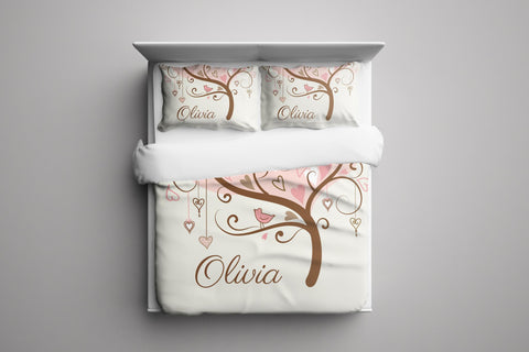 Heart Flower Tree Personalized Bedding