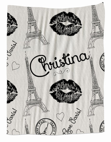 Paris Kiss Fleece Blanket