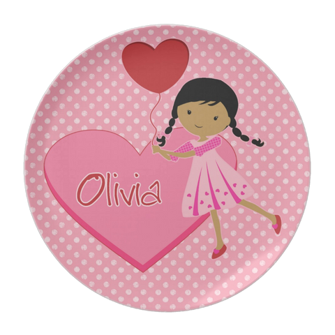 Heart Girl Personalized Plate