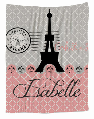 Personalized Eiffel Tower Fleece Blanket