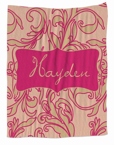 Cream & Pink Personalized Fleece Blanket