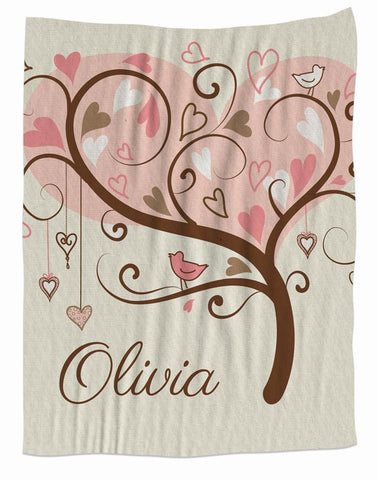 Heart Tree Personalized Blanket