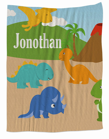 Personalized Dinosaur Fleece Blanket