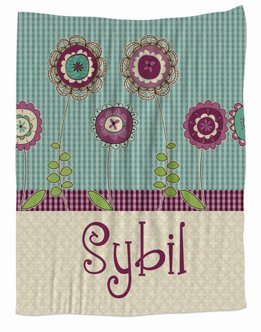Personalized Purple Blossoms Fleece Blanket