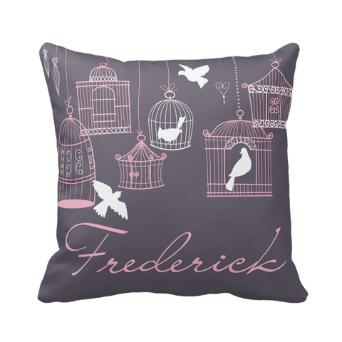 Purple Birdcage Personalized Pillow