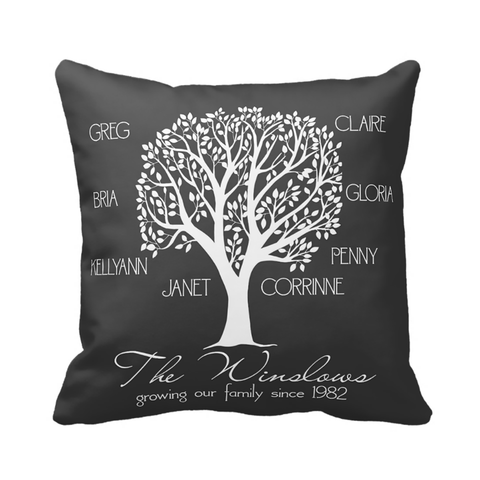 Dark Grey & White Family Tree Pillow