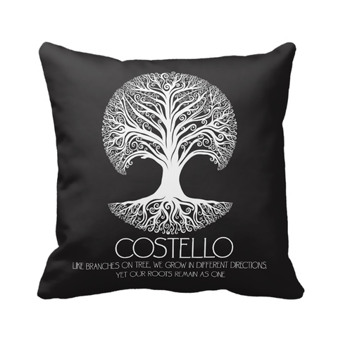 Black & White Family Roots Pillow