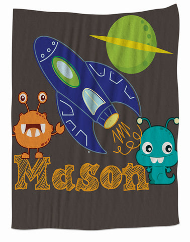 Space Aliens Personalized Fleece Blanket