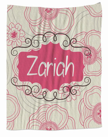 Crem & Pink Personalized  Fleece Blanket
