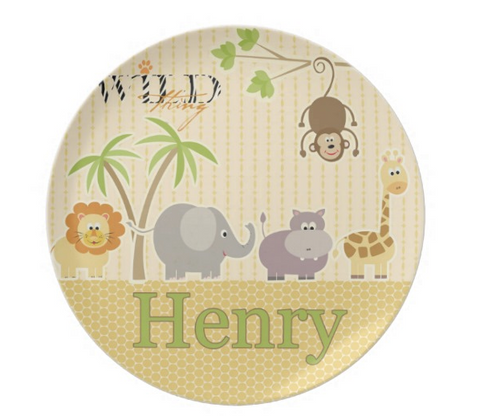 At The Zoo - Personalized Melamine Plate - Style 092