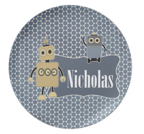 Robot Buddies - Personalized Melamine Plate - Style 041