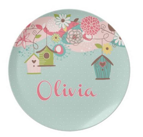 Beautiful Birdhouse - Personalized Melamine Plate - Style 091