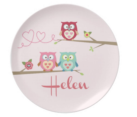 Owls on a Branch - Personalized Melamine Plate - Style 69