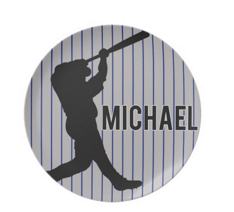 Baseball Player Personalized Plate for Kids
