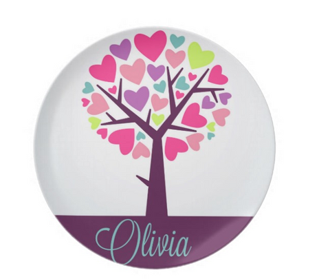 Heart Filled Tree - Personalized Melamine Plate -- Style 026