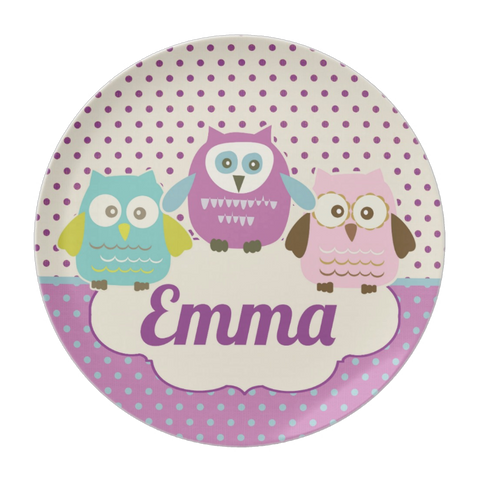 Owl Trio Personalized Plate