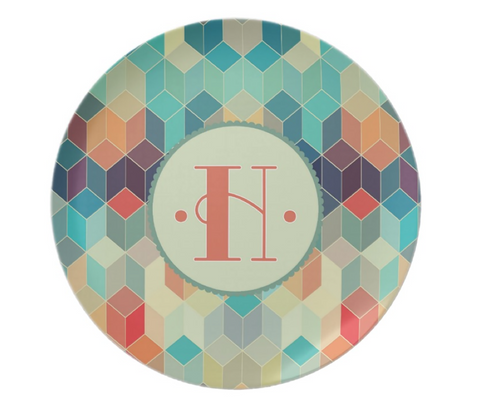 Colorful Prism Monogram Plate