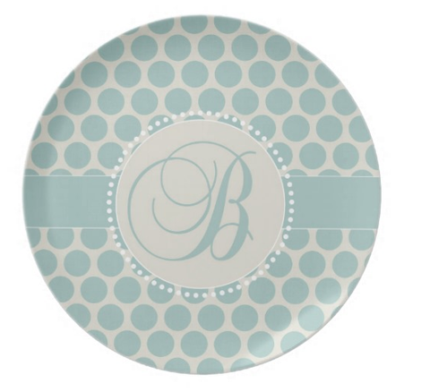 Teal Dots Monogram Plate