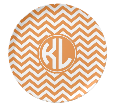 Orange Chevron Monogram Plate