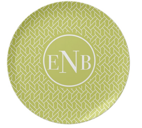 Lime Rope Monogram Plate