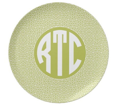 Lime Greek Key Monogram Plate