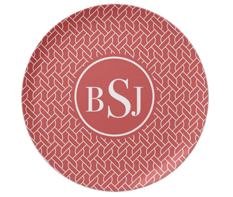 Red  Rope Monogram Plate