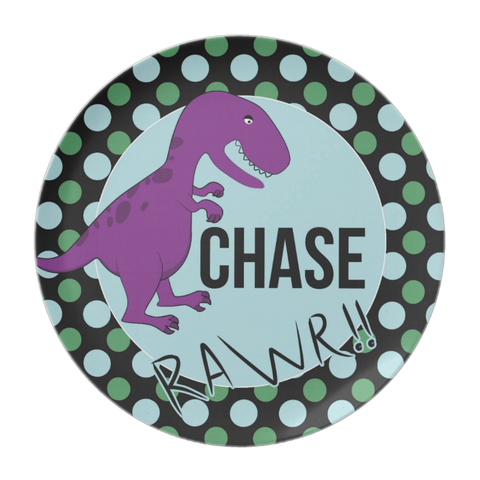 Dinosaur Marching - Personalized Melamine Plate - Style 036