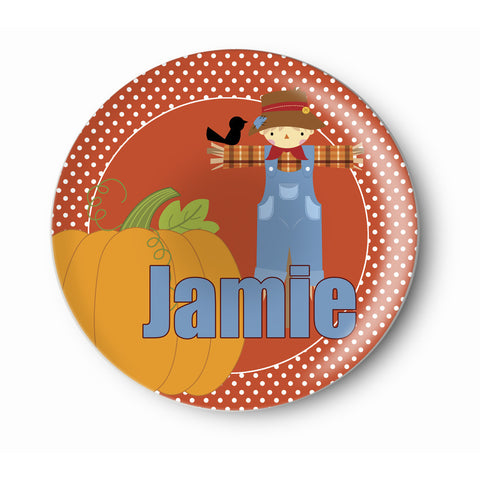 Scarecrow, Pumpkin Boy - Personalized Melamine Plate - Kids Table Setting -  Style 087