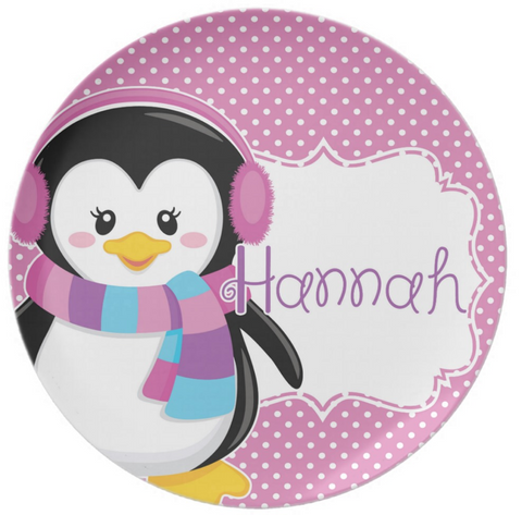 Girl Penguin Holiday Personalized Plate