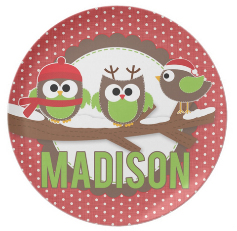 Holiday Owls Personalized Plate