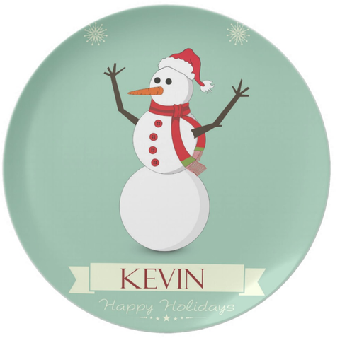 Mr Snowman Personalied Plate
