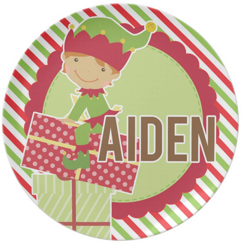 Christmas Elf Boy Personalized Plate