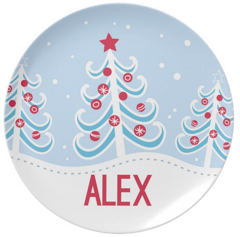 Blue Christmas Tree Plate