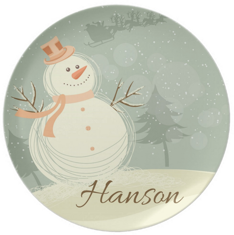 Classic Snowman Personalized Plate