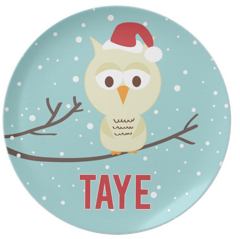 Holiday Owl Tree Plate