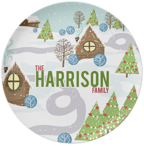 Holiday Scene Personalized Plate