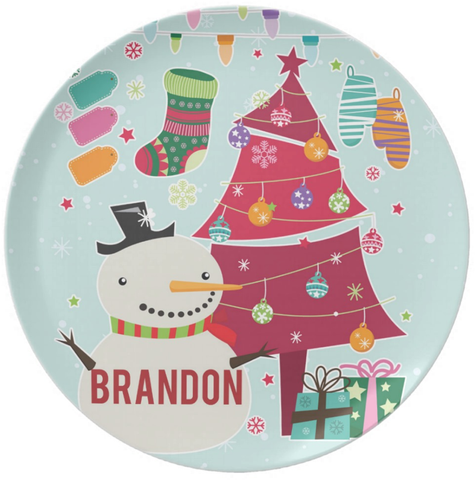 Snowman Christmas Tree Personalized Plate