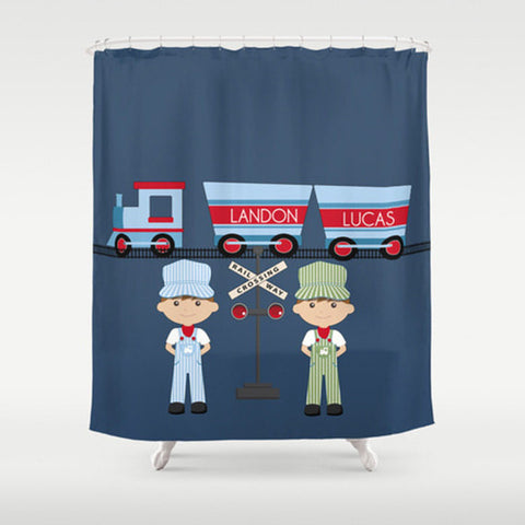 Train Conductor  Personalized Shower Curtain