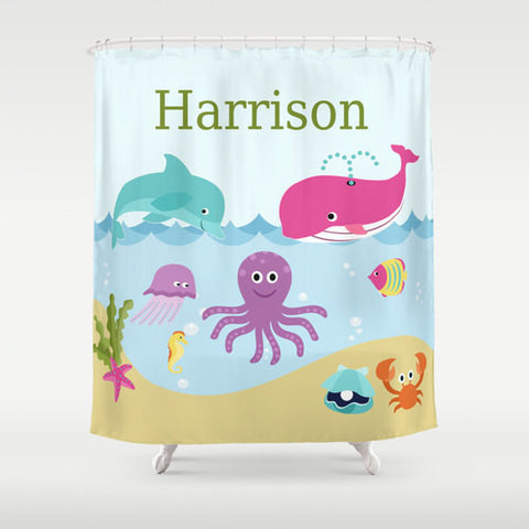 Under the Sea  Personalized Shower Curtain -  Children's  Bathroom Decor
