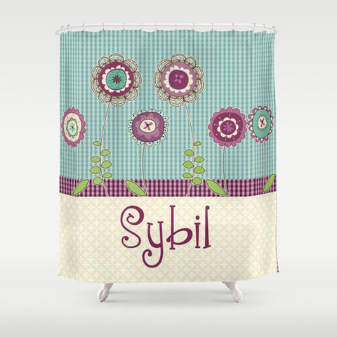 Purple Blossoms  Personalized Shower Curtain