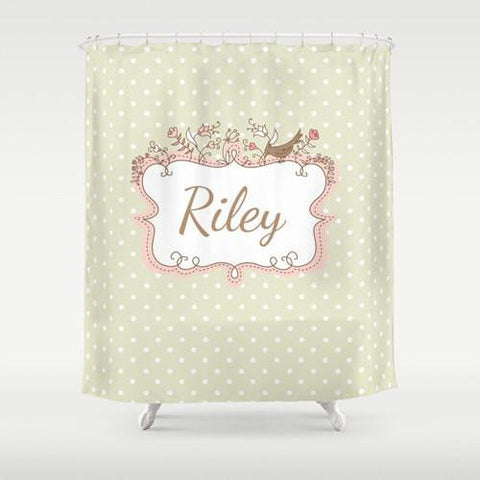 Cream & Pink  Personalized Shower Curtain