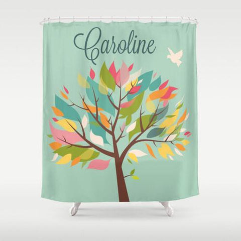 Colorful Leafy Tree  Personalized Shower Curtain
