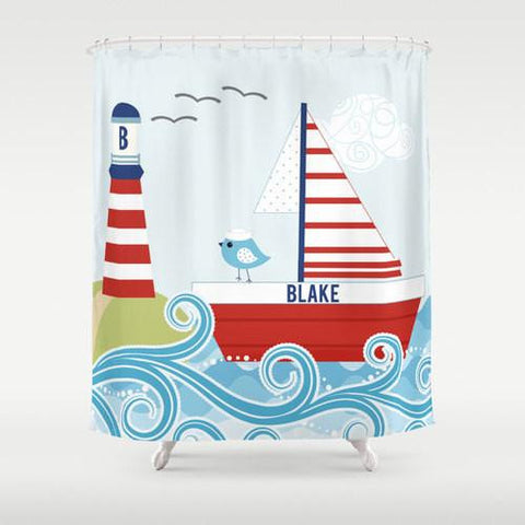 Ahoy Mates Nautical Design  Personalized Shower Curtain